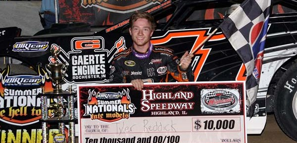Reddick Grabs First Career DIRTcar Summer Nationals Victory at Highland Speedway