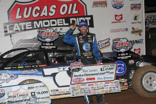 Jared Landers in victory lane after capturing the CMH Diamond Nationals on Saturday at Lucas Oil Speedway. (Chris Bork photo)