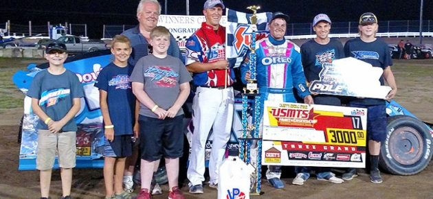 Thornton rolls Oreo machine into USMTS victory lane at Pepsi Scotland County Speedway